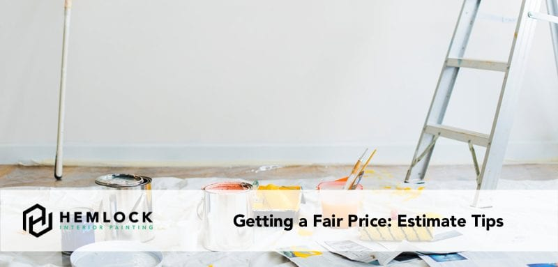 getting a fair painting price blog featured image paint cans and ladder on drop cloth