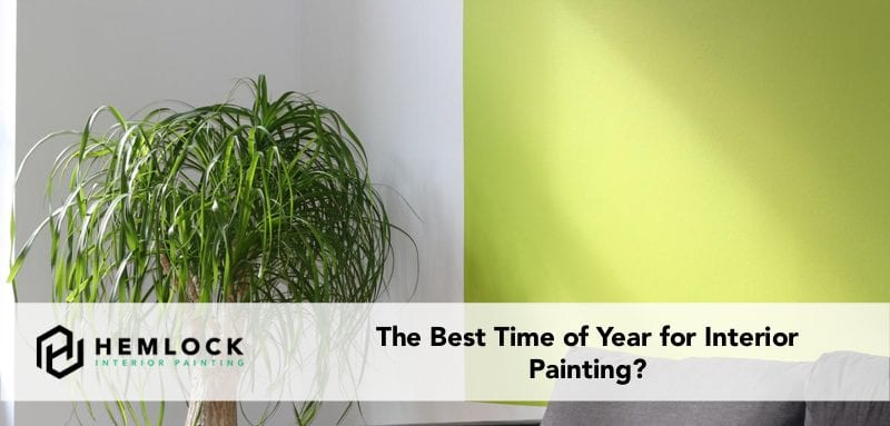 best time of year for interior painting featured image lime green accent wall behind couch with plant in corner
