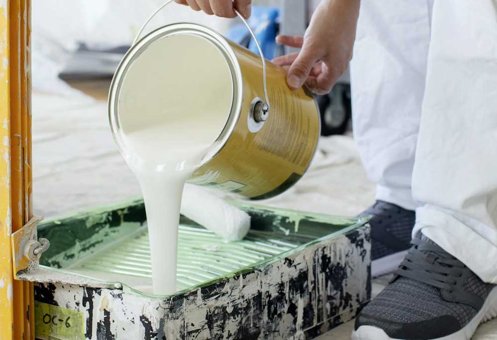 High-quality paint is poured before application.